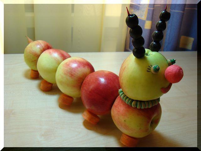 Поделки из яблок гусеница фото